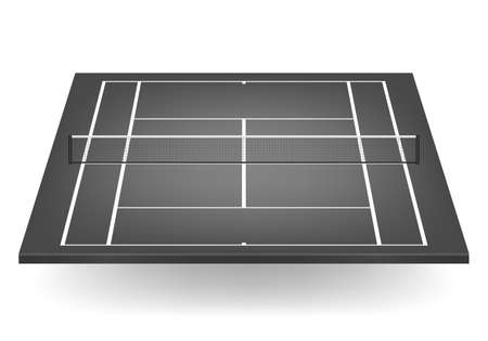 deuce: Black tennis court with netting.