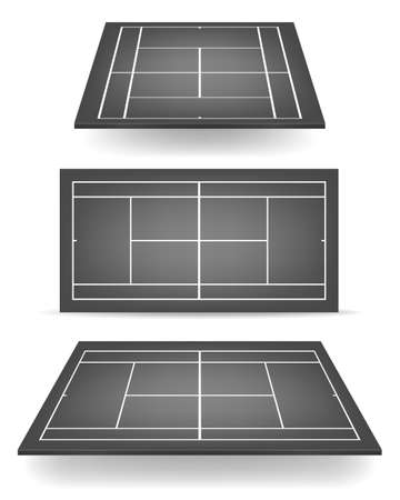 deuce: Set of black tennis courts with perspective.  Illustration