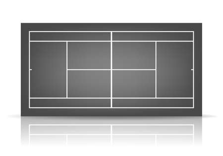 deuce: Black tennis court with reflection.