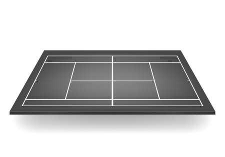 hard court: Black 3d tennis court