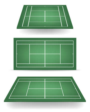 deuce: Set of green tennis courts with perspective.   Illustration