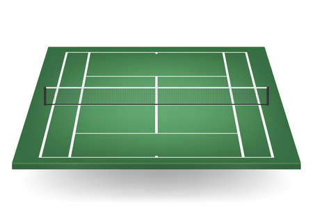 netting: Green tennis court with netting.