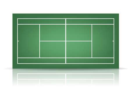 sideline: Pista de tenis verde con la reflexi�n.