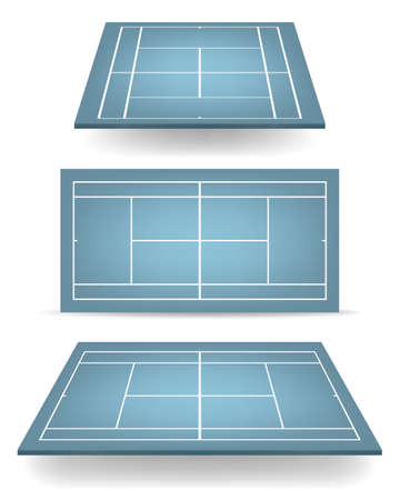 deuce: Set of blue tennis courts with perspective.   Illustration