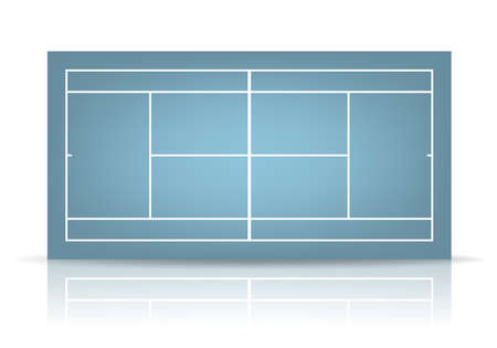 deuce: Blue tennis court with reflection.