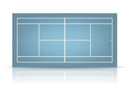 concrete court: Blue tennis court with reflection.