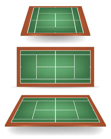 TENIS: Conjunto de combinados - verde y marrón - pistas de tenis con perspectiva. Vectores