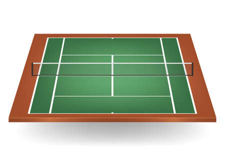 deuce: Combination of green and brown - tennis court with netting.