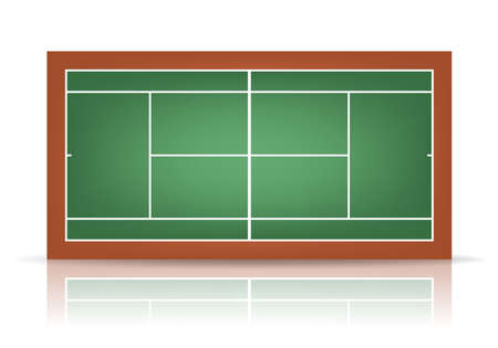 deuce: Combination - green and brown - tennis court with reflection.