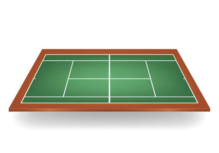 tennis court: Combination - green and brown -3d tennis court.