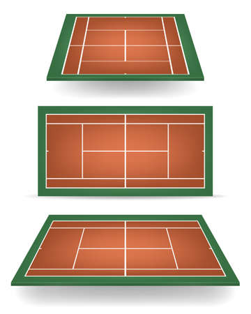 hard court: Set of combination - brown and green - tennis courts with perspective.