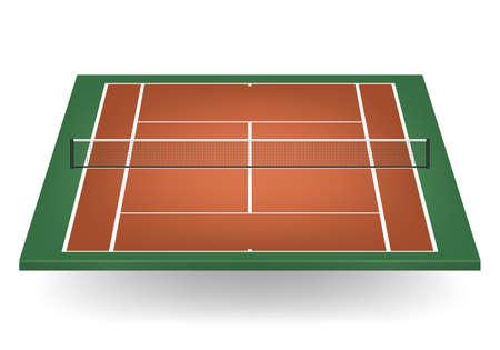 sideline: Combinaci�n - marr�n y verde - cancha de tenis con la red.