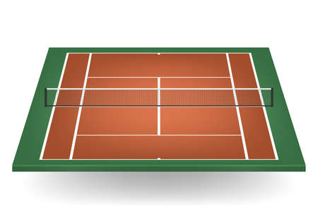 tennis court: Combination - brown and green - tennis court with netting.