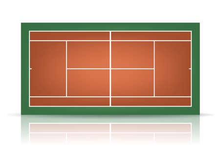 deuce: Combination - brown and green- tennis court with reflection.