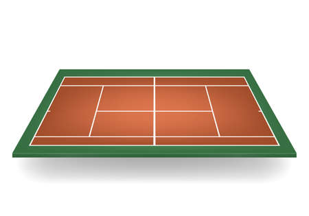concrete court: Combination - brown and green -3d tennis court.