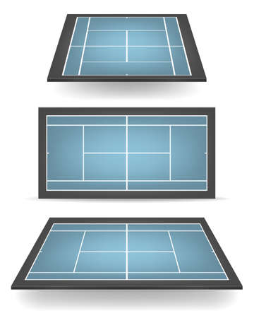 hard court: Set of combined - blue and black - tennis courts with perspective.
