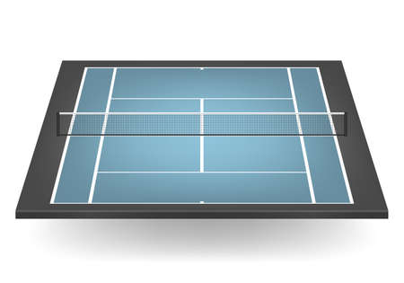 tennis court: Combination - blue and black - tennis court with netting.