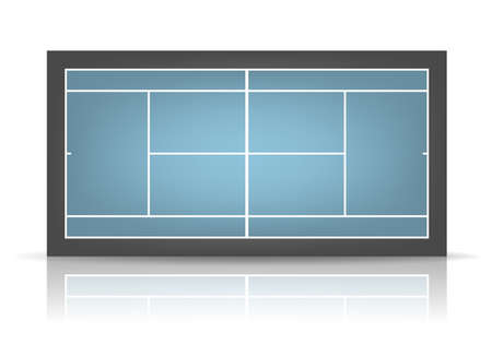 hard court: Combination - blue and black - tennis court with reflection.