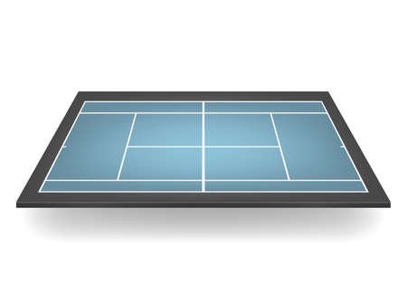 hard court: Combined - blue and black - 3d tennis court.