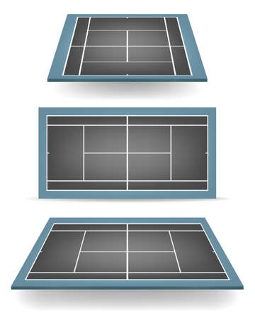 hard court: Set of combined - black and blue- tennis courts with perspective.    Illustration