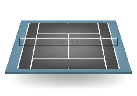 tennis court: Combined - black and blue - tennis court with netting.    Illustration