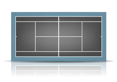 deuce: Combined - black and blue - tennis court with reflection.