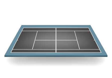 hard court: Combined - black and blue - 3d tennis court.