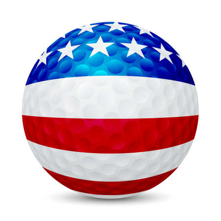 Golf ball with flag of USA, isolated on white background.    Illustration
