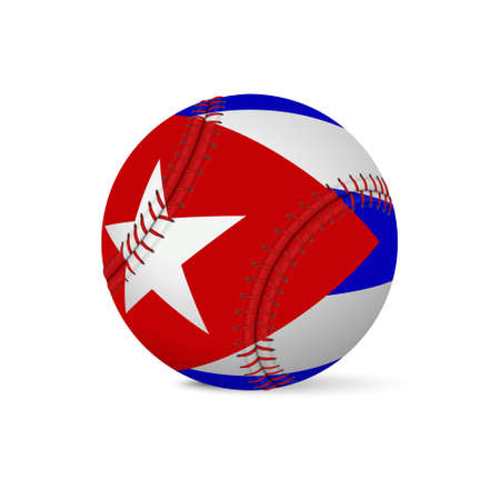 Baseball with flag of Cuba, isolated on white background.