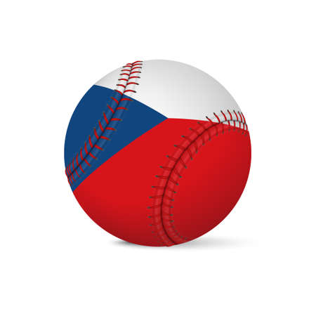 fastball: Baseball with flag of Czech Republic, isolated on white background.