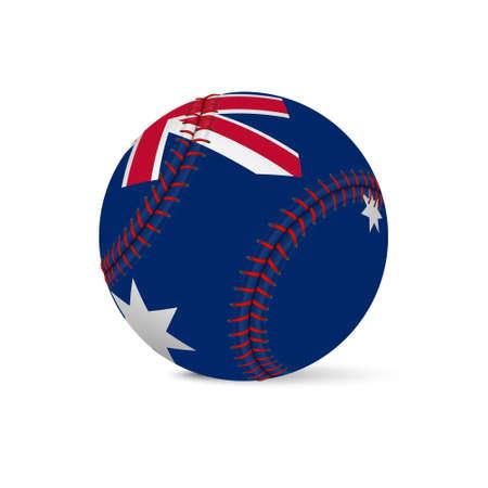 fastball: Baseball with flag of Australia, isolated on white background.     Illustration