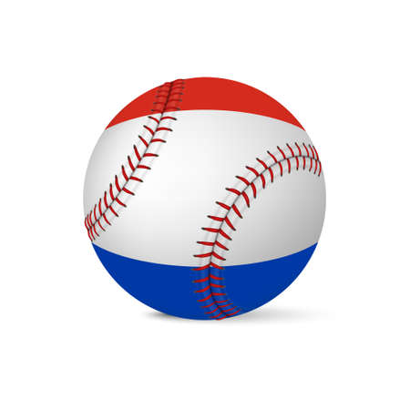 fastball: Baseball with flag of Netherlands, isolated on white background. Vector EPS10 illustration. Illustration