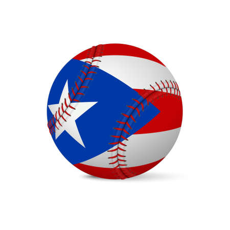 Baseball with flag of Puerto-Rico, isolated on white background. Vector EPS10 illustration.