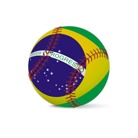 fastball: Baseball with flag of Brazil, isolated on white background.