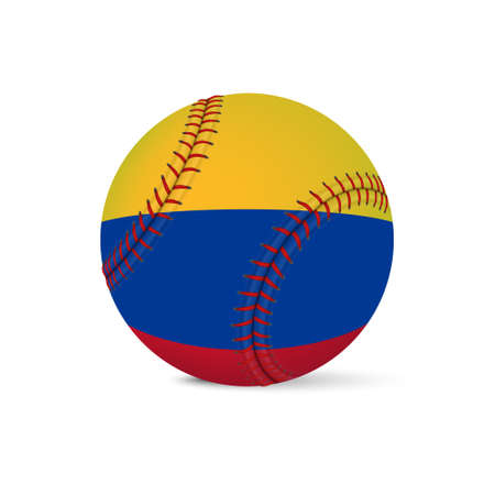 major league: Baseball with flag of Colombia, isolated on white background.