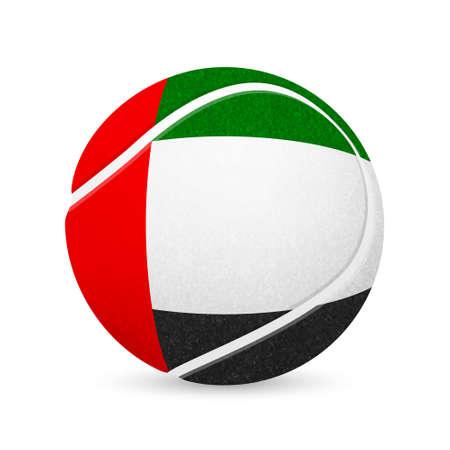 major league: Baseball with flag of United Arab Emirates, isolated on white background. Vector illustration.