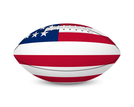 Football with flag of USA, isolated on white background. Vector illustration. Illustration