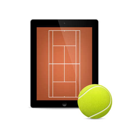 Black tablet with tennis ball and field on the screen. Vector EPS10 illustration. Illustration