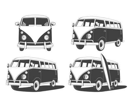 Retro Travel bussen se, design elementen. Vector EPS8 illustratie. Stock Illustratie