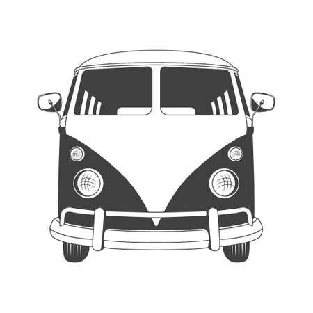 Retro travel bus in front view. Vector EPS8 illustration.