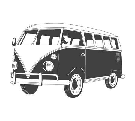 reise retro: Retro Reise-Bus in der Seitenansicht. Vektor-Illustration eps8.