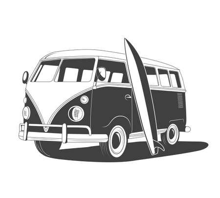 Retro reis bus met surfplank in zijaanzicht. Vector EPS8 illustratie.