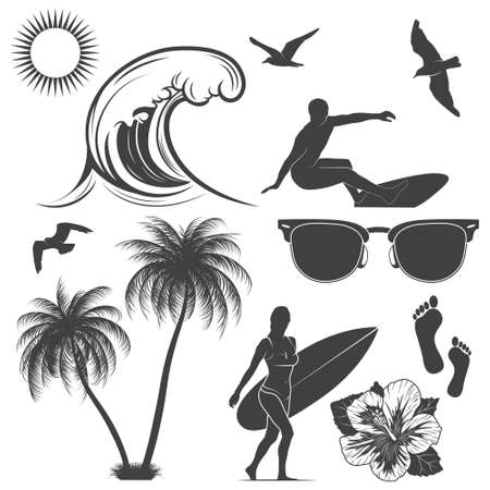 Set of surfing design elements.
