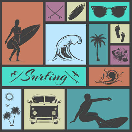 footprints in sand: Set of surfing icons.   Illustration