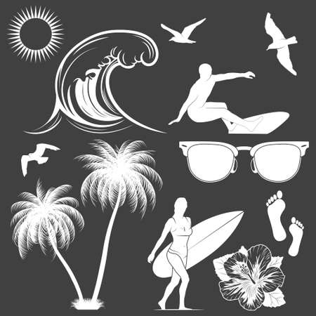 palm tree silhouette: Set of surfing design elements.    Illustration