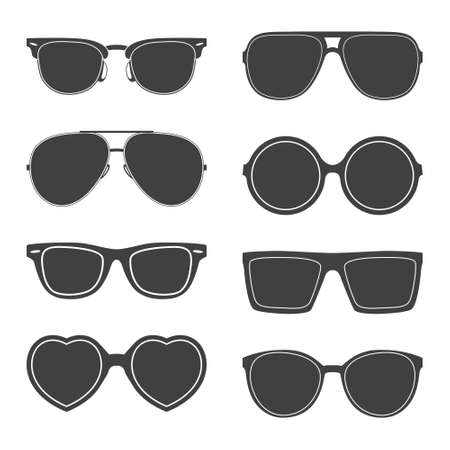 Vector set of sunglasses silhouettes.  Çizim
