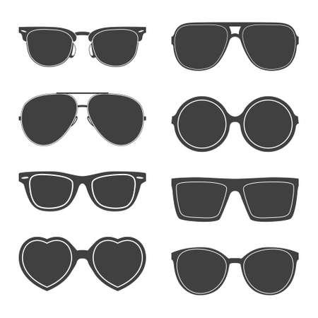 circular silhouette: Vector set of sunglasses silhouettes.  Illustration