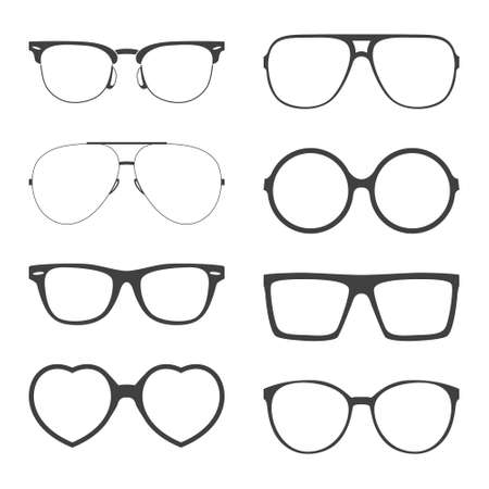 face  illustration: Vector set of sunglasses frames.       Illustration