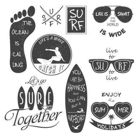 Surfer vector set. Vintage elements and labels. Grunge effect can be edited or removed. It can be used for printing on T-shirts.  Illustration