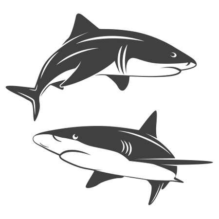 emt: Monochrome illustration of stylized two sharks isolated on white.